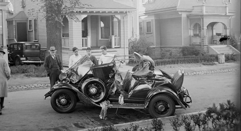 Boston Public Library collection    Auto wrecked on residential street Courtesy of the Boston Public Library, Leslie Jones Collection.