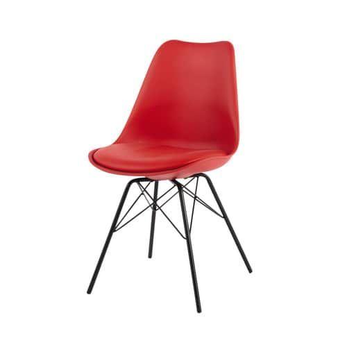 Chaise en polypropylène et métal rouge coventry maisons du monde
