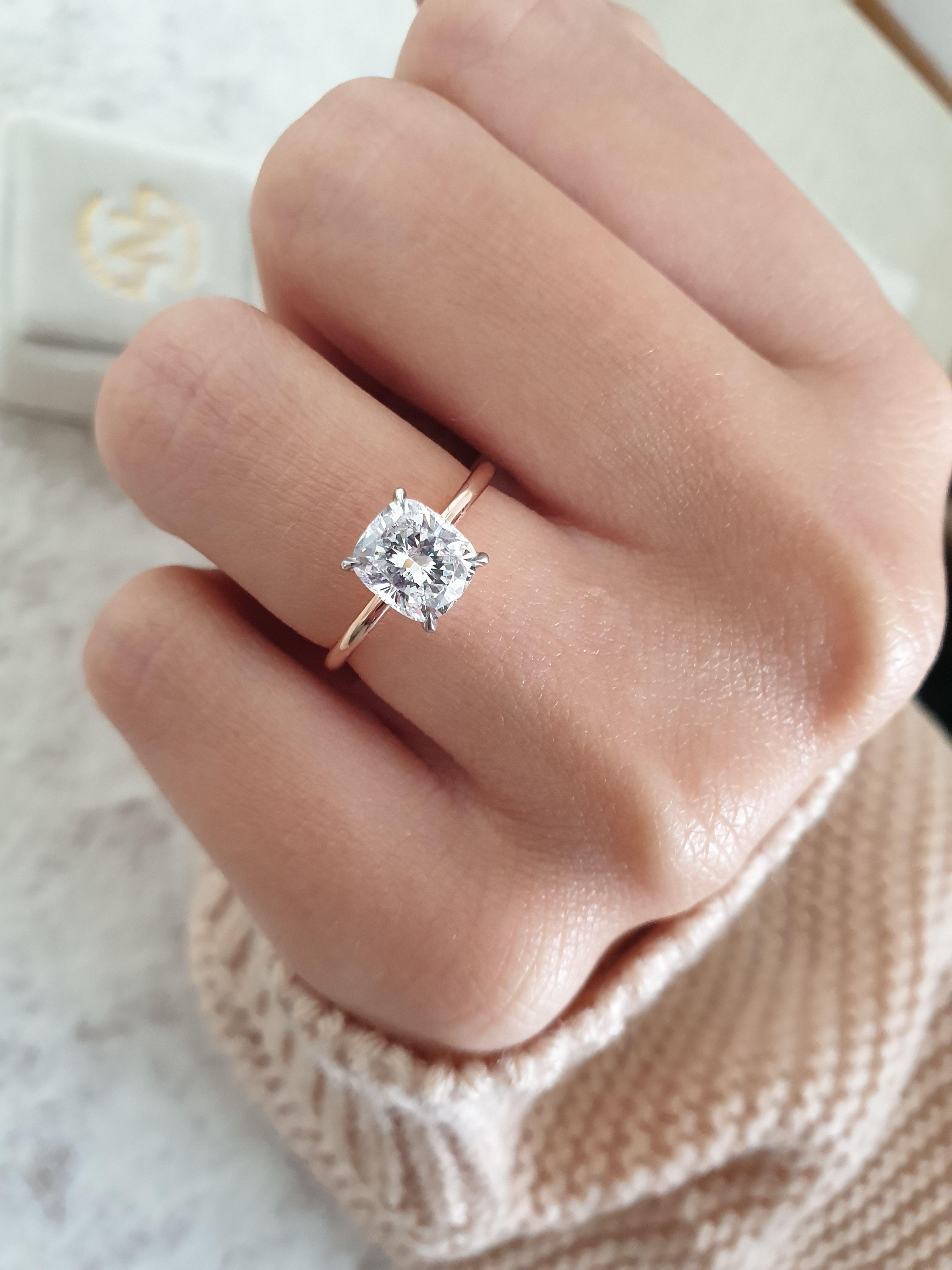 Diamond Engagement Ring 1.50 Carat Cushion Unique Diamond   Etsy