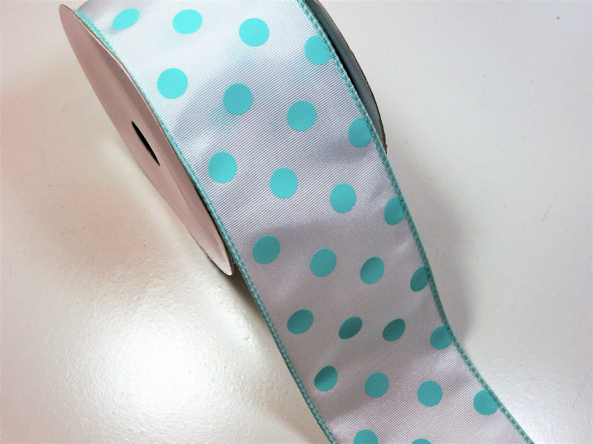 Schiff Blue and Pink Polka Dot Grosgrain Ribbon 1 1//2 inches wide x 10 yards