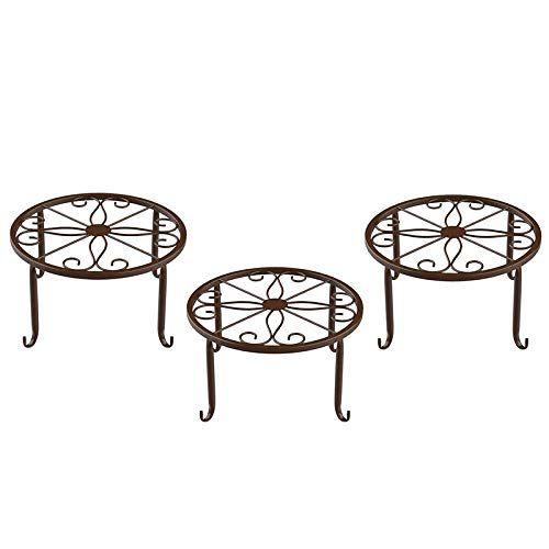 DealMux Topf Pflanzen St?Nder, [3 Packungen] Indoor Eisen Blume Pot Stand, Fu?Boden Single Pot Bonsai Eisen Blume Stand