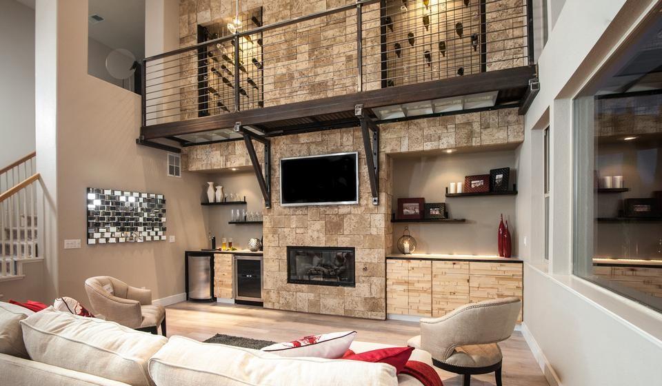 Contemporary Living Room With Coastal Stone Wall Wine