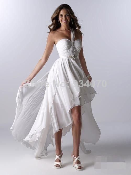 One Shoulder Hi-Lo Beach Prom Dress Pleat Sash Beads Beach style A ...
