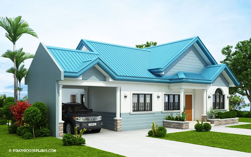 The Blue House Design with 3 Bedrooms | Bungalow house ...