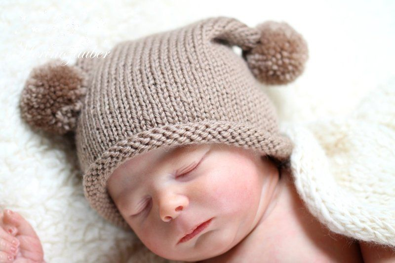 Babymutze Mit Zwei Bommeln Babymutze Stricken Anleitung Babymutze Stricken Babymutze
