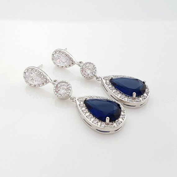 Blue Wedding Earrings Bridal Jewelry Blue drop Earrings Sapphire Blue Cubic Zirconia Something Blue Jewelry Blue Crystal Earrings, Aoi