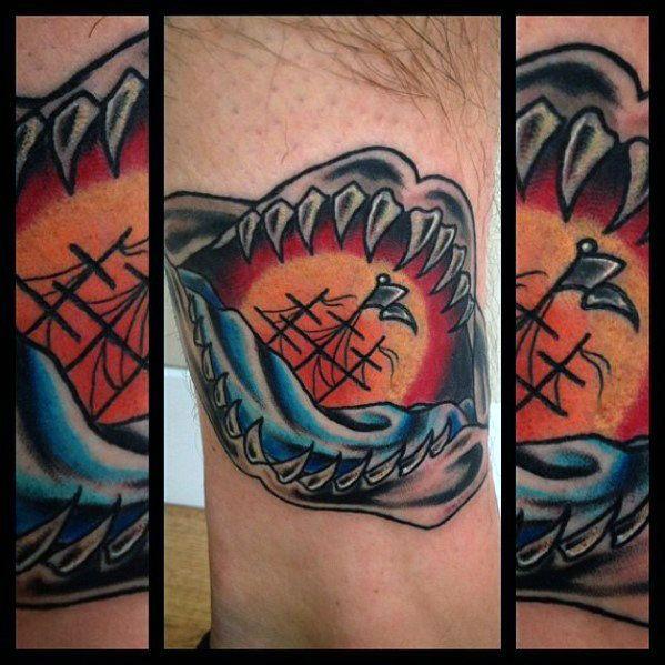 Women Jaw Tattoo: 60 Shark Jaw Tattoo Designs For Men