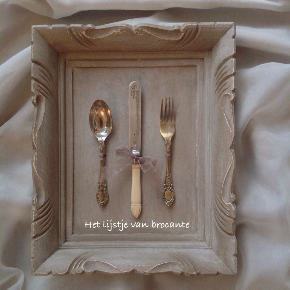 Homemade frame with old cutlery