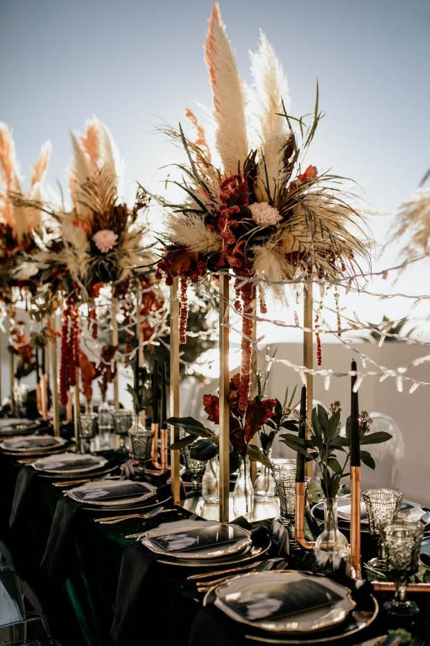 Modern Pampas grass wedding