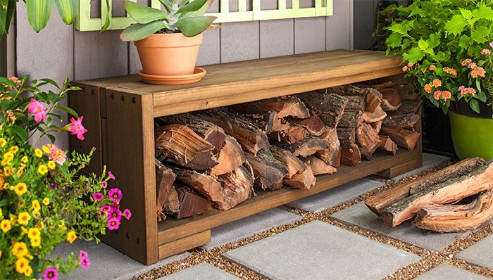 Groovy Firewood Bench My Florida Garden Firewood Storage Patio Gmtry Best Dining Table And Chair Ideas Images Gmtryco