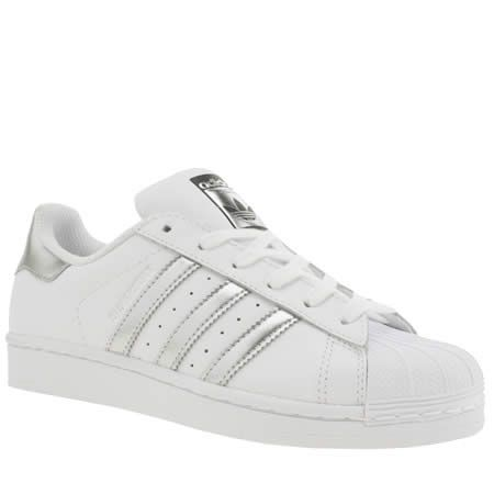 womens adidas white \u0026 silver superstar trainers