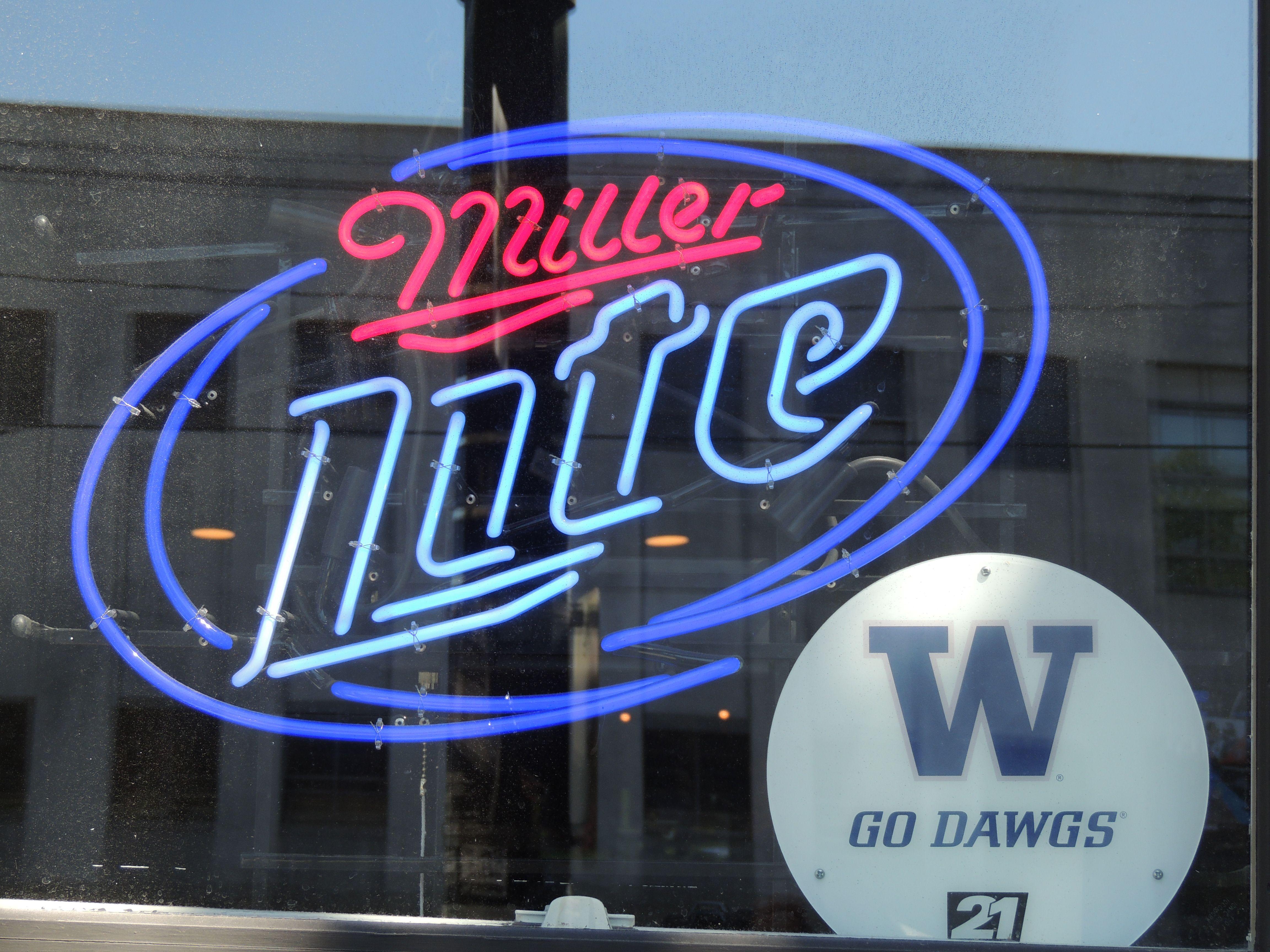 Neon Beer Sign - Miller Lite Dawgs Washington