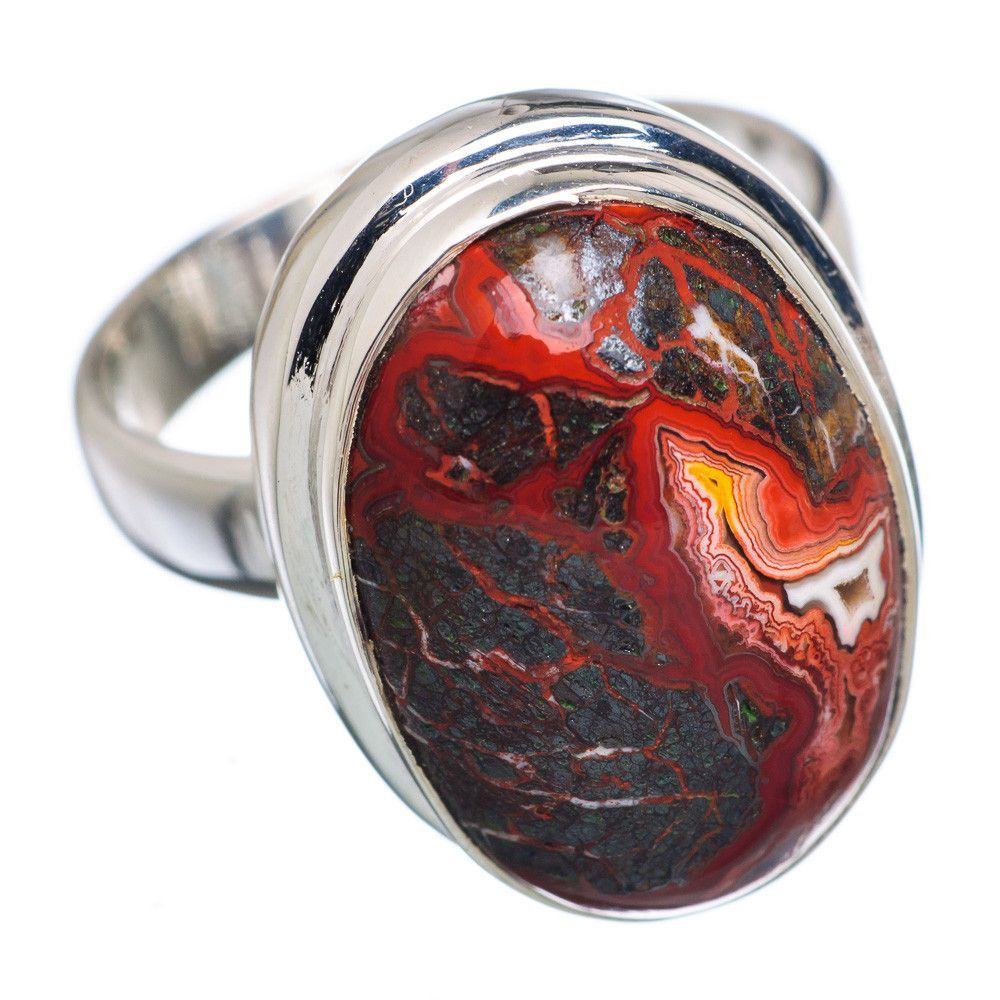 Crazy Lace Agate 925 Sterling Silver Ring Size 7 RING670798