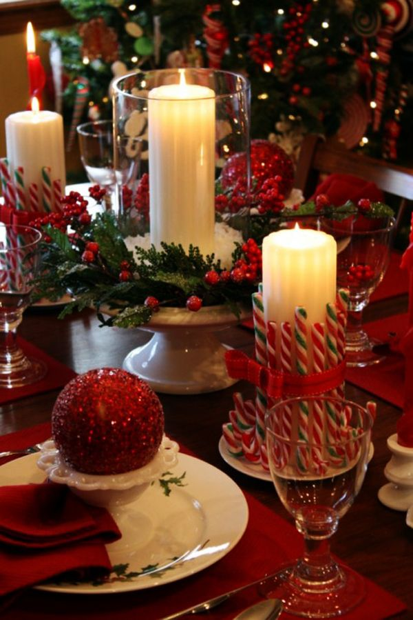 christmas table setting love the candy cane candle holder idea