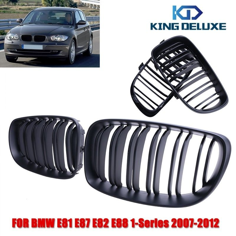 2x Matte Black Double Slat Kidney Grille Front Grill For Bmw 1