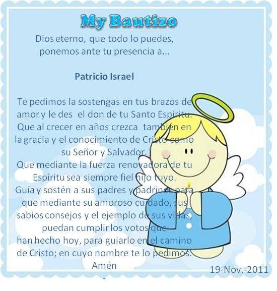Oracion bautismo buscar con google fiestas eventos for Poemas para bautizo