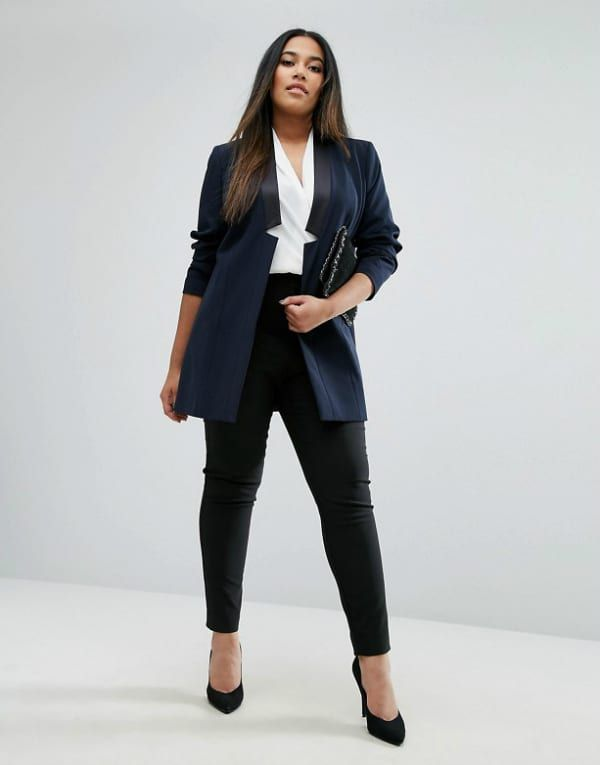 c0aeb4ab40297 Plus Size Workwear Refresh  7 Pieces to Update Your Look Right Now-ASOS  CURVE Longline Tux Jacket