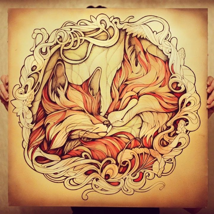 Stunning Red Fox Illustrations Using Watercolors And Ink