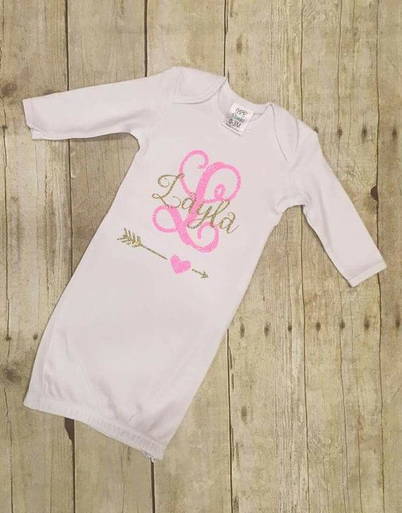 77983cc9f Baby Girl Infant Gown - Coming Home Outfit - Infant Girl Monogrammed ...
