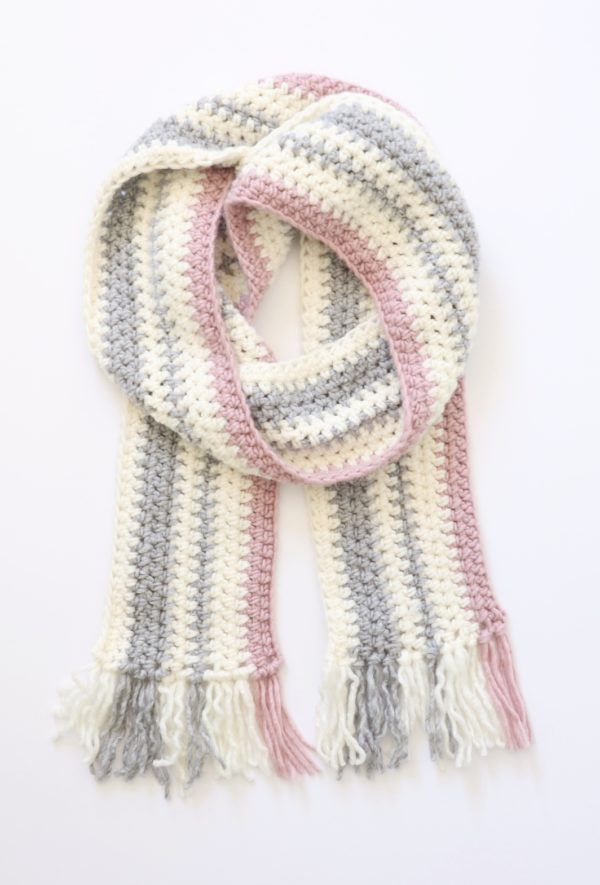 Crochet Pink and Gray Striped Scarf | Daisy Farm Crafts | crocheting ...