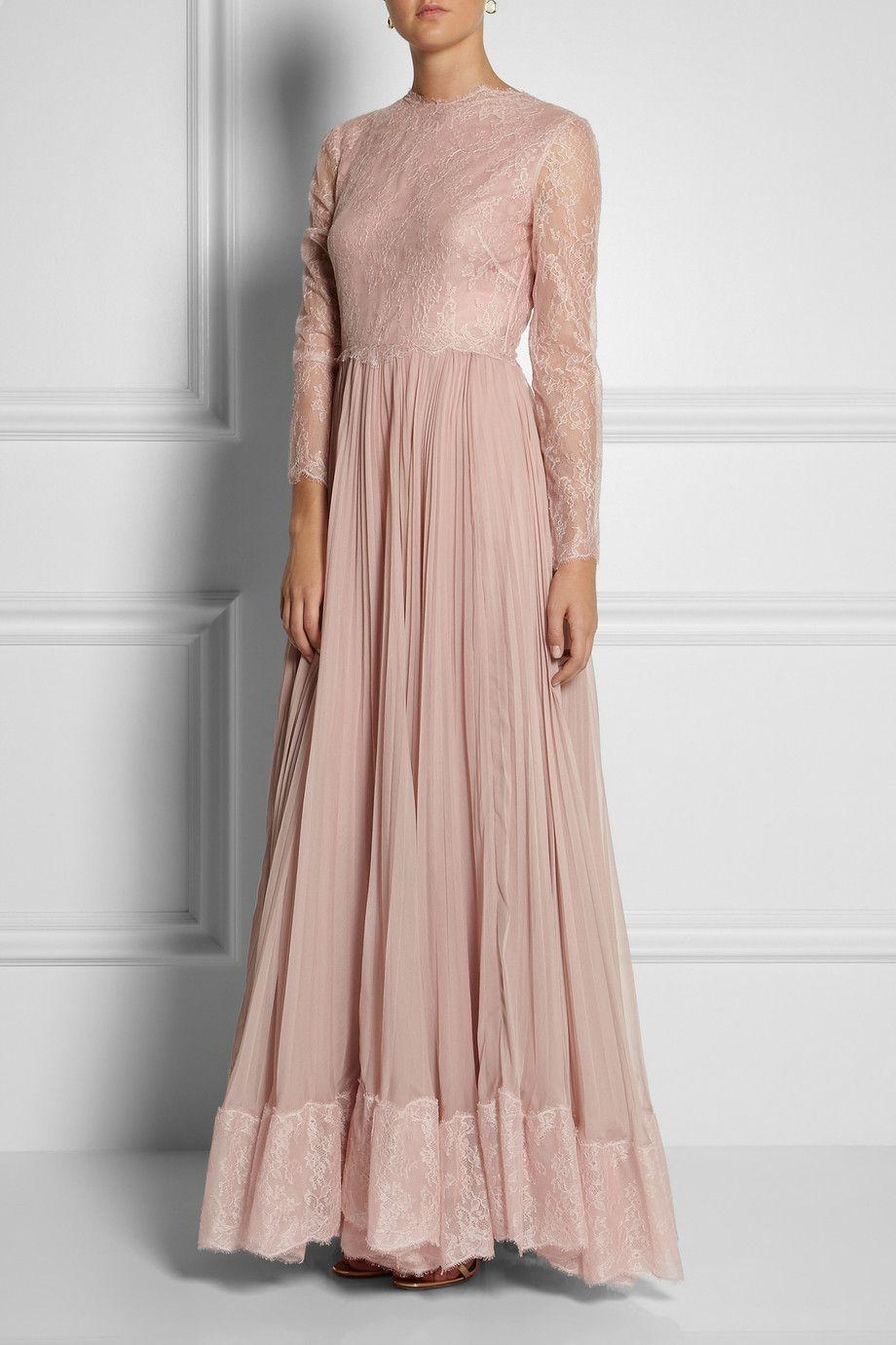 Valentino | Lace and silk gown | NET-A-PORTER.COM | Vestidos ...