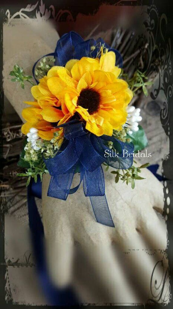 Sunflower corsage mini sunflowers wrist corsage navy blue ...