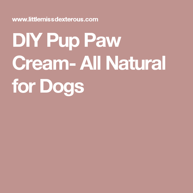DIY Pup Paw Cream- All Natural for Dogs