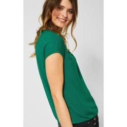 Cecil - Unifarbenes Shirt Indra in Lucky Clover Green Cecil