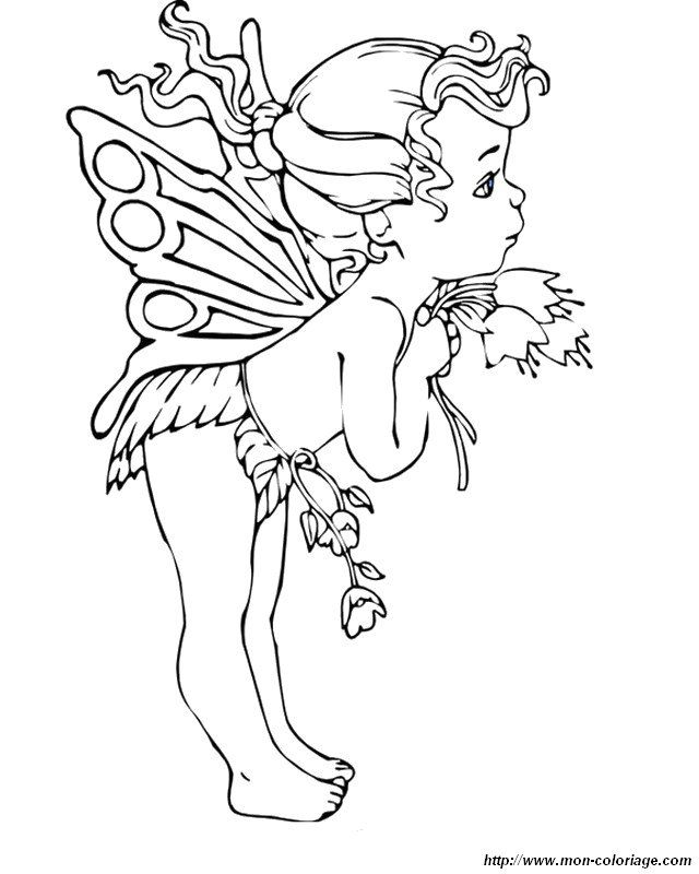 Coloring Fairy Page Baby Fairy Fairy Coloring Pages Fairy Coloring Coloring Pictures