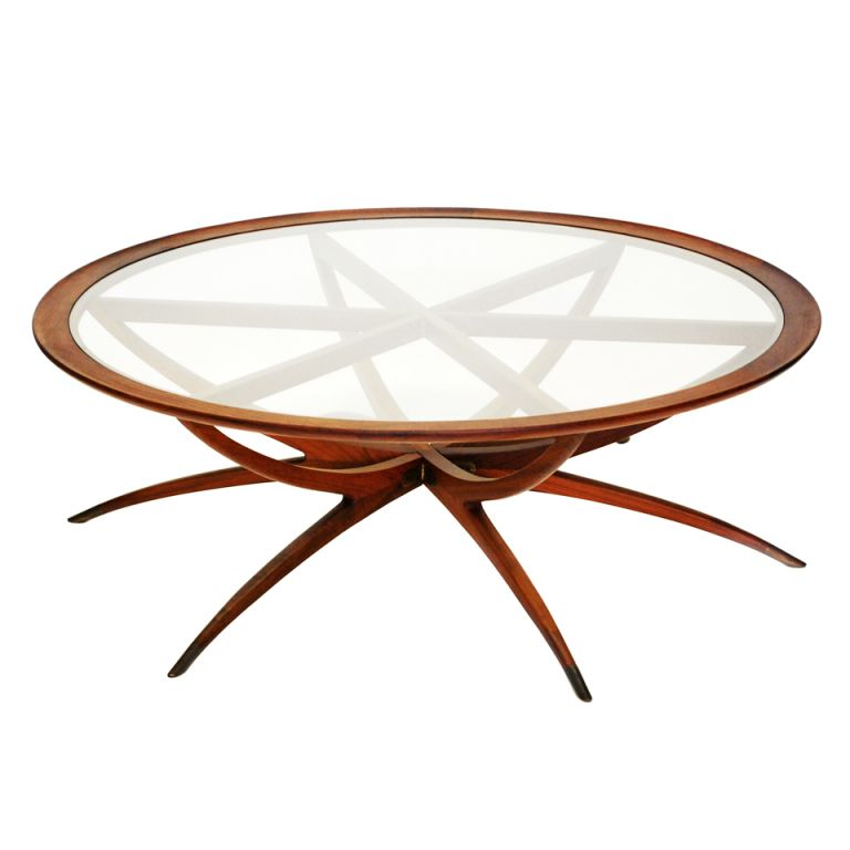 Danish Mid Century Modern Spider Leg Teak Coffee Table with Glass Top - Mid Century Modern Kidney Organic Shape Walnut Coffee Table W