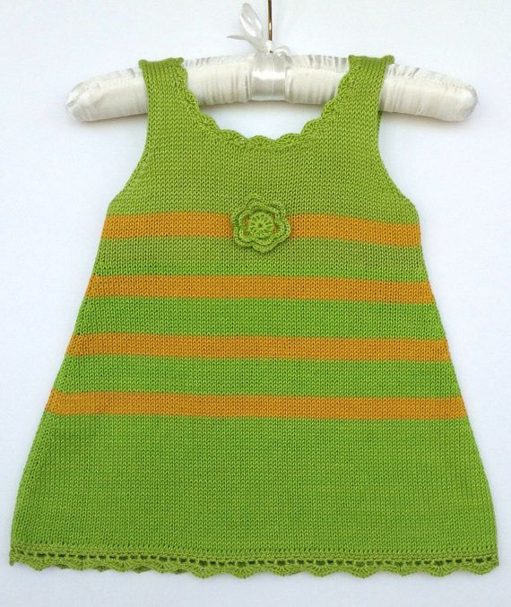 Girls knit dress Green summer dress 100% cotton by Leiladelle #greendress #green #crochetflower #girlsfashion