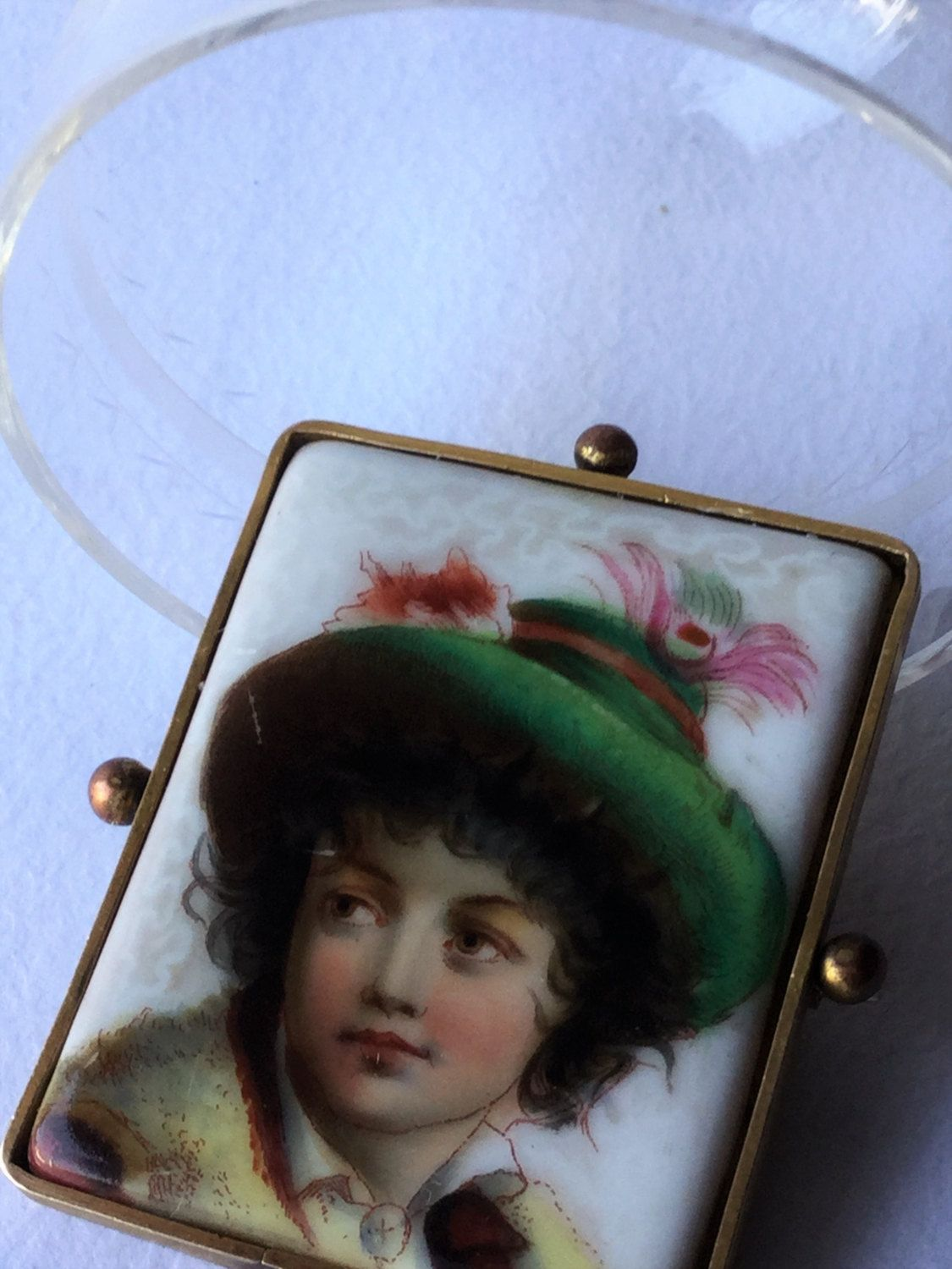 Late Edwardian 1920 paint porcelain brooche in golden frame, edwardian jewels, antique jewels di Quieora su Etsy