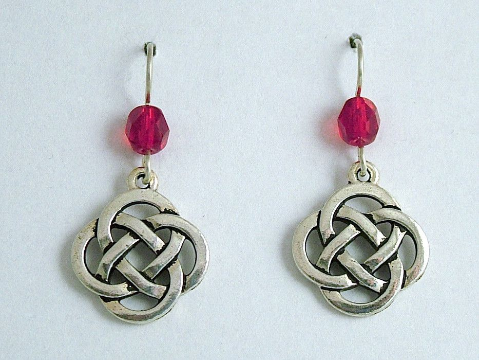 Pewter & Sterling Silver large Round Celtic Knot dangle Earrings- red glass