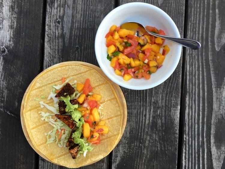 Baja Tofu Tacos With Mango Salsa Avocado Cream With Images