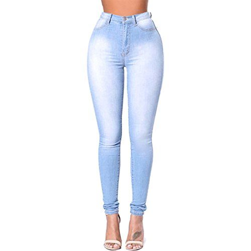 e72e22789cf7 Dunland Femme Grande Taille Haute élasticité lavant Les Pieds à Jeans  Déchirés Skinny Denim Pantalons Bleu