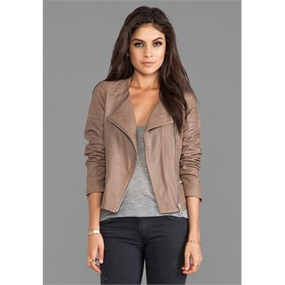 BB Dakota Dolorosa Lamb Leather Jacket in Taupe | Jackets/Coats ...