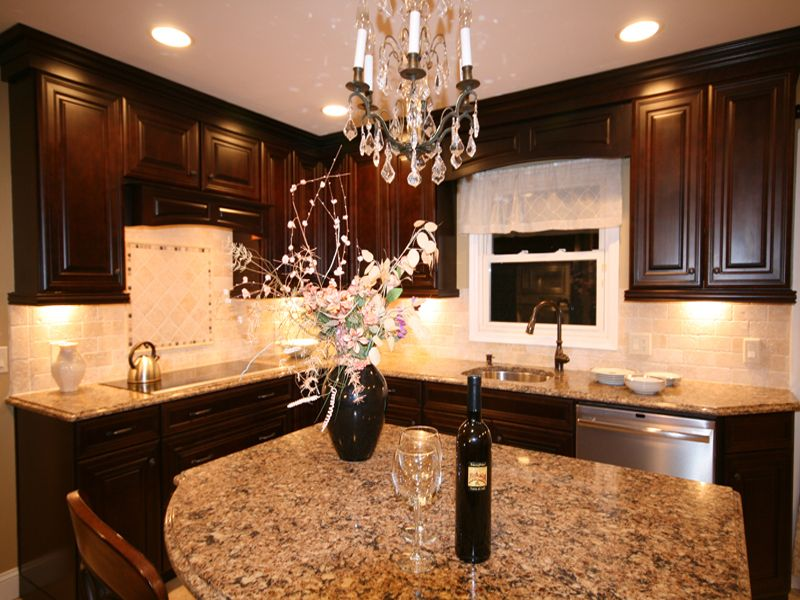Chandelier Waypoint 740 Cherry Java Kitchen Cabinets A Window Valance Cambria Canterbury Countertop