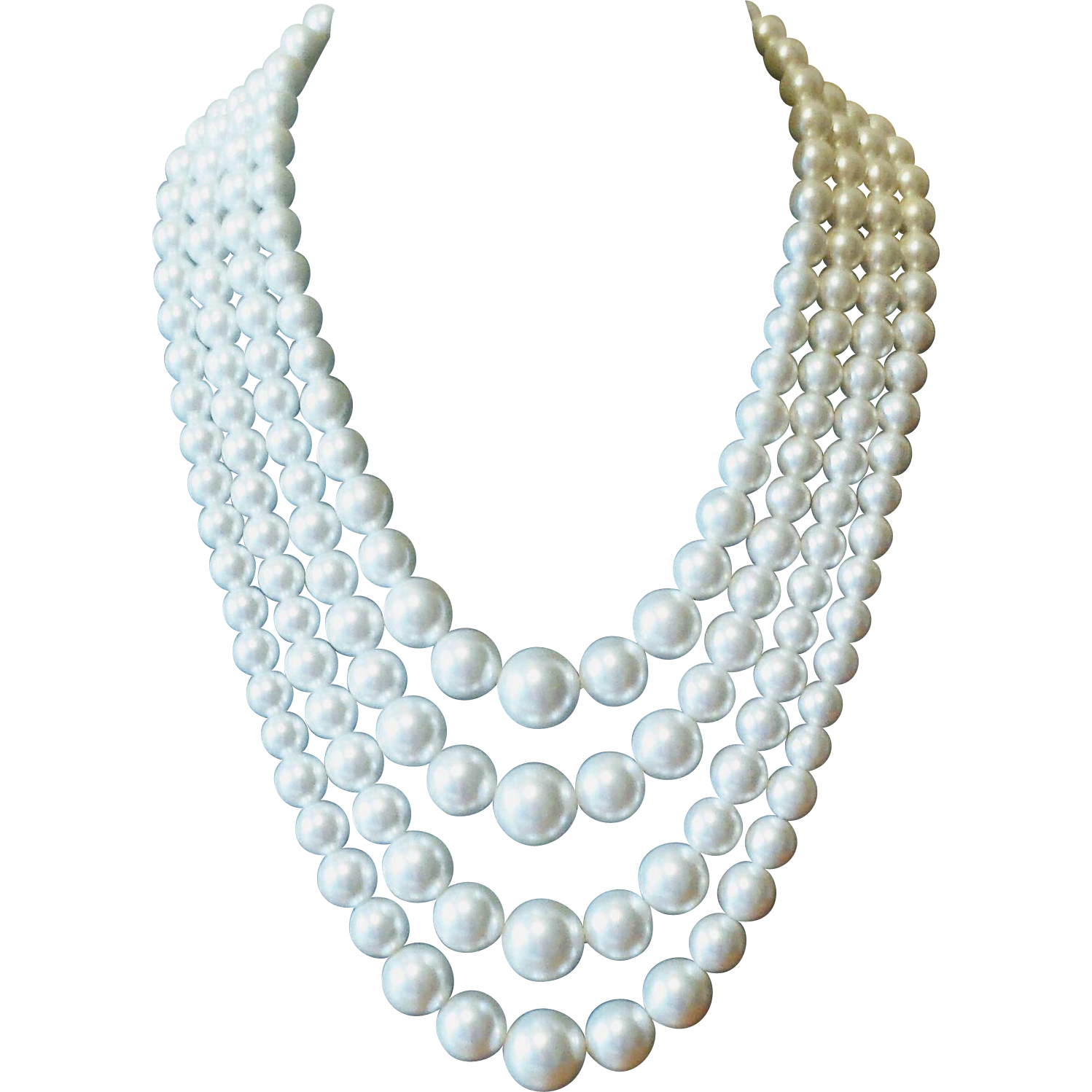Vintage 1950s Multi Strand White Beaded Faux Pearl Necklace At Whimsicalvintage Rubylane C White Choker Necklace White Beaded Necklaces Vintage Choker Necklace