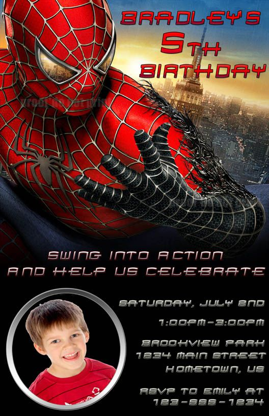 Spiderman Birthday Party Invitations Printable Free Superhero