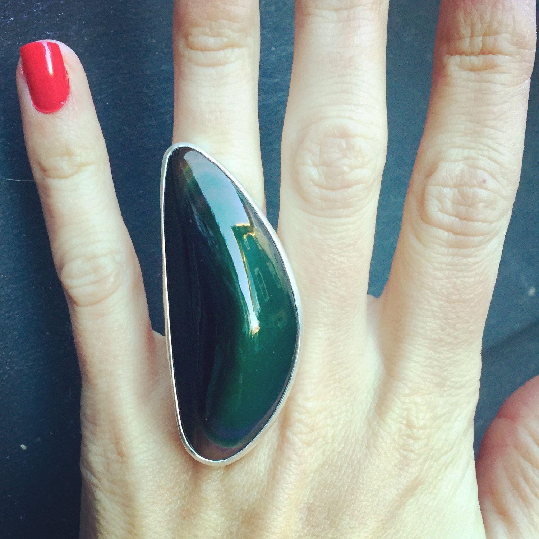 Large Rainbow Black Obsidian Boho Rocker Goth Chunky Statement Ring in Sterling Silver by GildedBug on Etsy