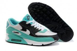 Nike Bl0s Air Max 90 Damen Laufschuhe Cyan Weiss Schwarz Nike Air Max 90 Nike Shoes Women Nike Air Max 90 White