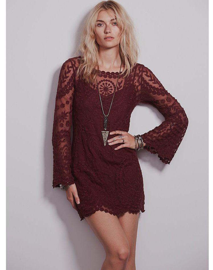 Vestido gasa Crochet bordado-rojo vino 10.62  0b7d8556d836