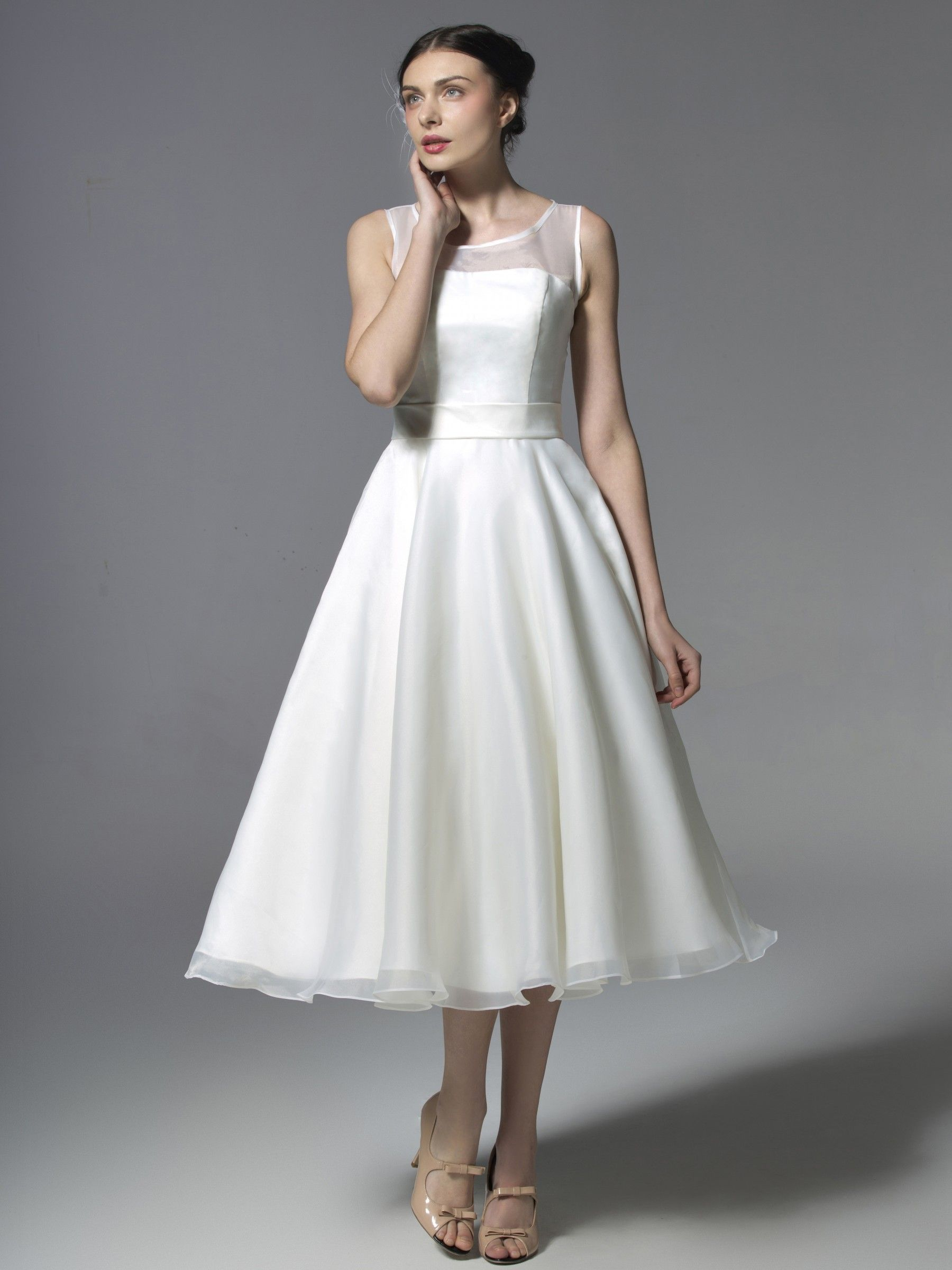 Illusion neckline tea length organdy gown plus and petite sizes