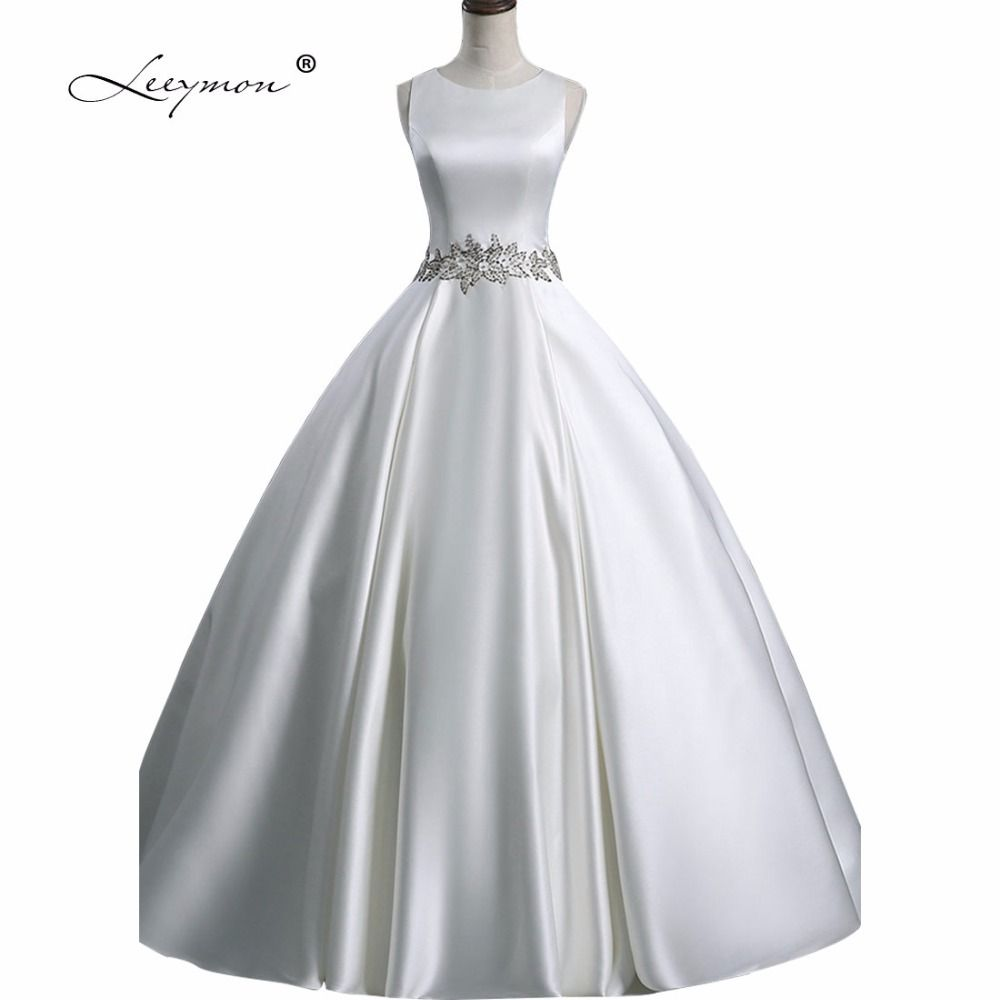 Click to buy ucuc leeymon simple satin wedding dress china ball gown