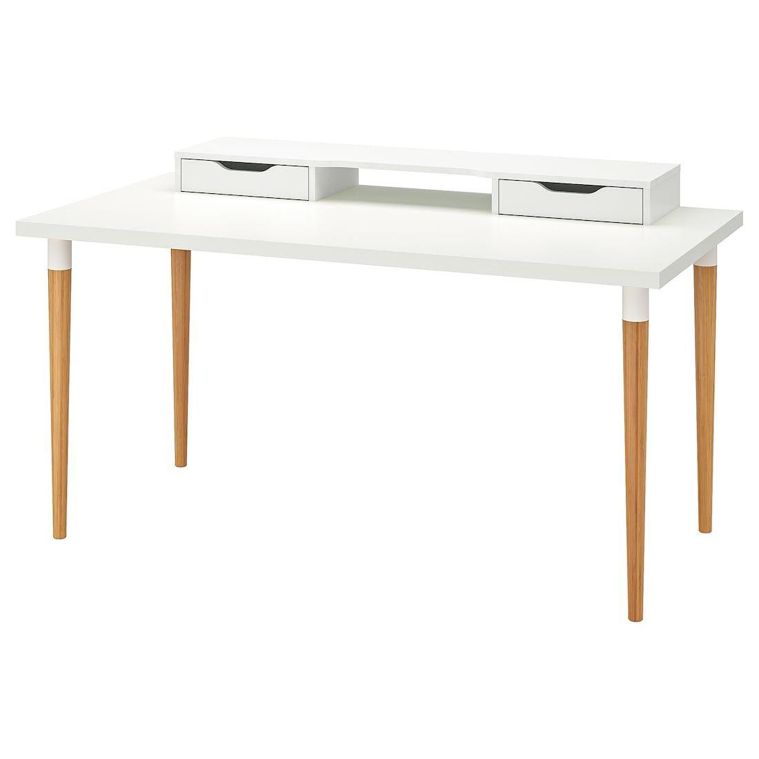 Linnmon Hilver Tafel Wit Bamboe 150x75 Cm Ikea Drawer Shelves Ikea Ikea White Desk