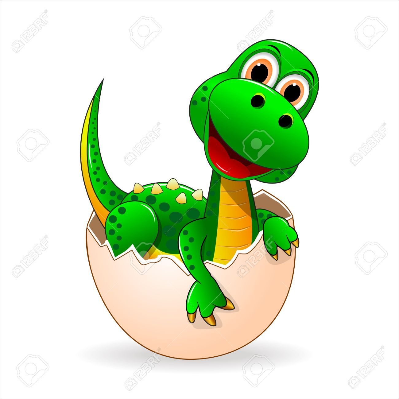 Small Green Dinosaur Who Just Hatched From The Egg Aff Green