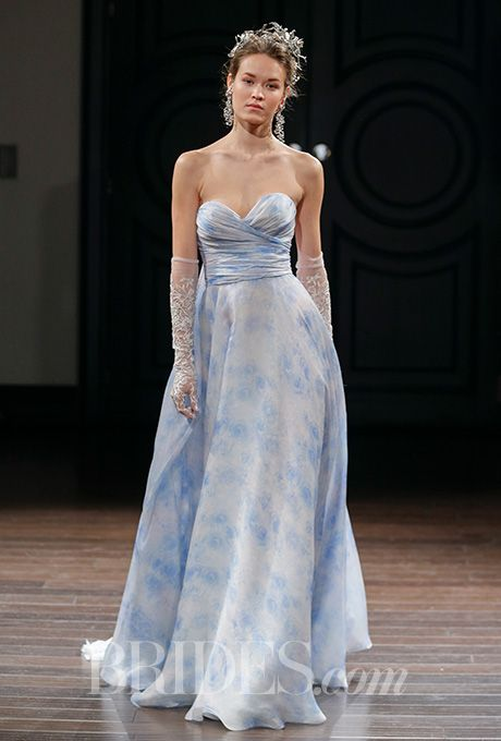 Brides Naeem Khan Spring 2016 Louvre Strapless French Blue Silk Sheath With A Sweetheart Neckline And Watteau Train