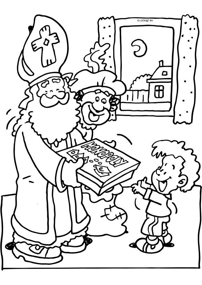 Kleurplaten Sinterklaas Cadeautjes.Sinterklaas Geeft Een Spelletje Cadeau Sinterklaas Kleurplaten