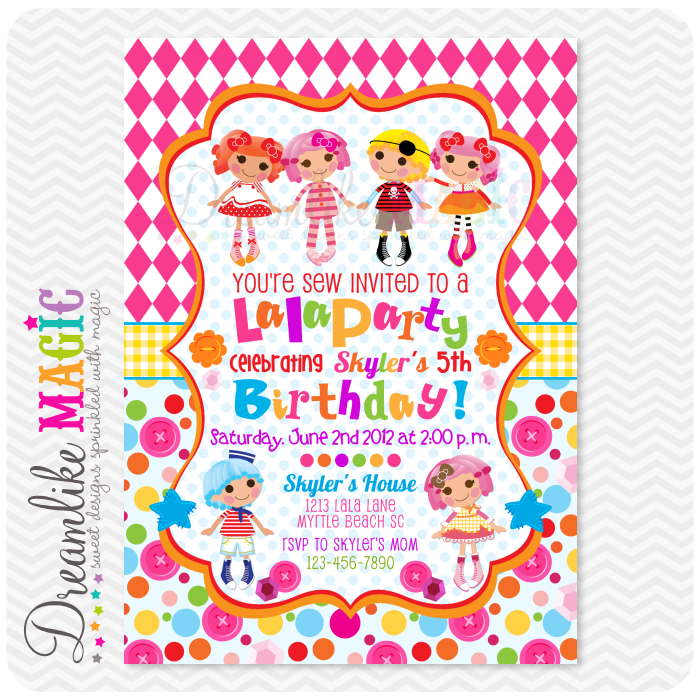 Printable Invite- Pink LalaParty-lalaloopsy, invite, invitation ...