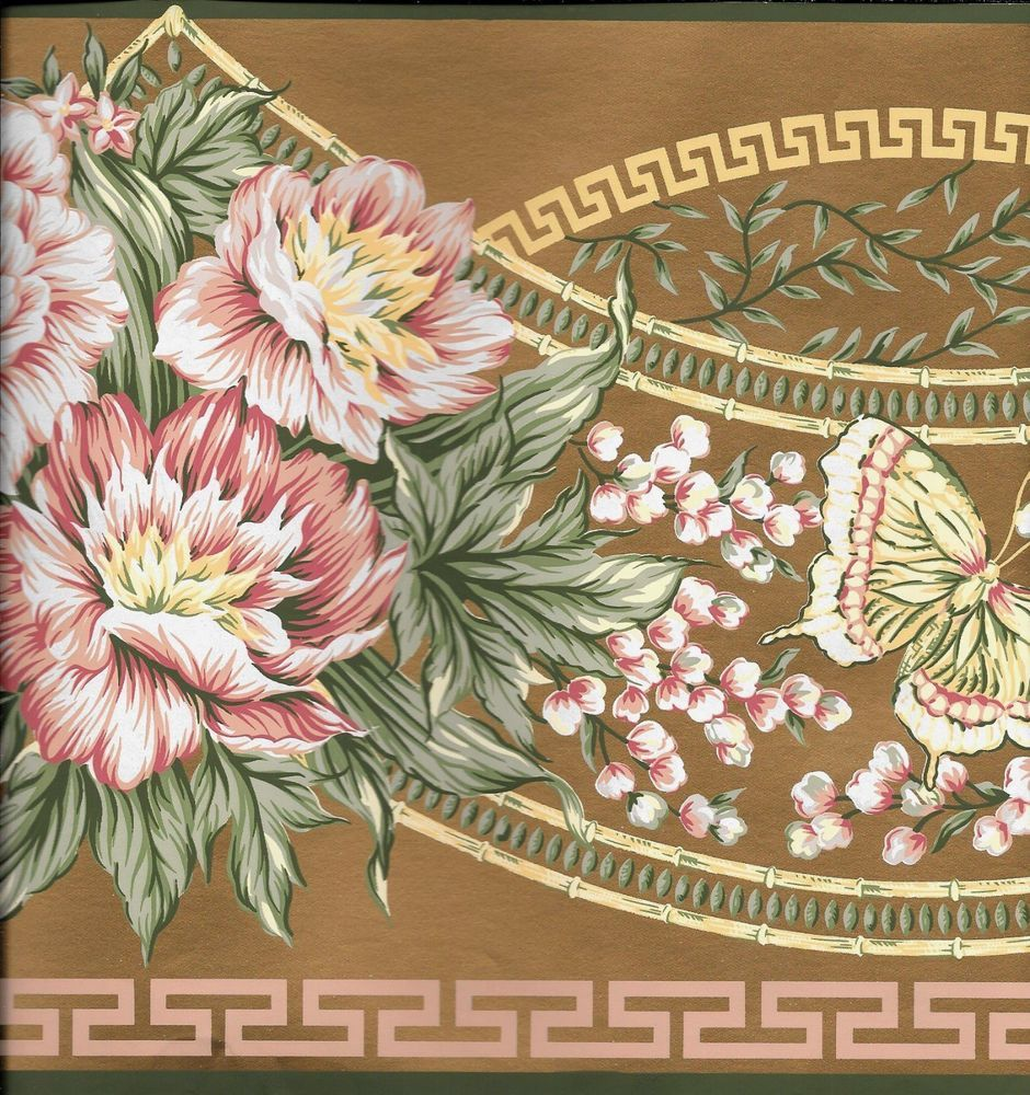 Details about Victorian Pink Floral with Butterflies on